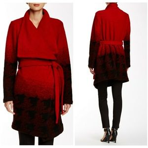 Cupcakes and Cashmere Red wrap belted coat S
